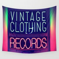 records Wall Tapestries featuring Vintage Clothing Records by Wanker & Wanker
