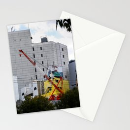 red crane on yellow Stationery Cards