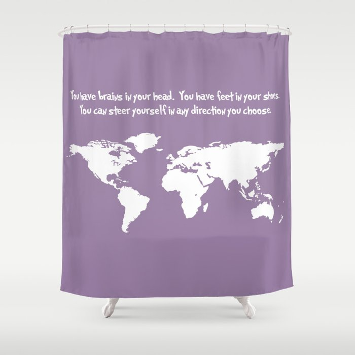 World Map With Dr Seuss Quote Shower Curtain
