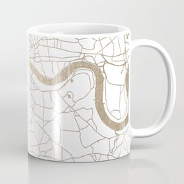 White on Gold London Street Map Coffee Mug