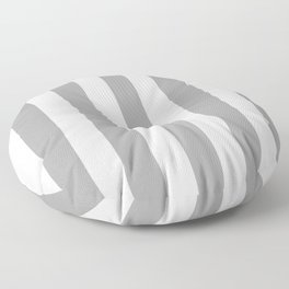 Quick Silver grey -  solid color - white vertical lines pattern Floor Pillow