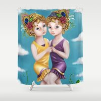 gemini Shower Curtains featuring Gemini by Paula Ellenberger