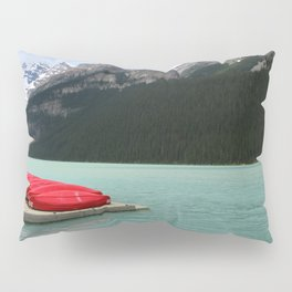 Lake Louise Red Canoes Pillow Sham