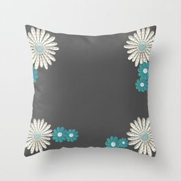 Gray,blue flowers Throw Pillow