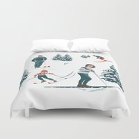 sports Duvet Covers featuring Sports d'hiver by Vannina