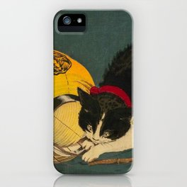 Kobayashi Kiyochika Black & White Cat Fluffy Cat Japanese Lantern Vintage Woodblock Print iPhone Case