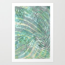 Relaxing leaves - delicate meditation green shades Art Print