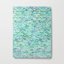 Marble Mosaic in Mint Quartz and Jade Metal Print