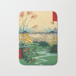 Wild Flowers and Mount Fuji Japan Bath Mat