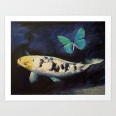 Bekko Koi and Butterfly Art Print