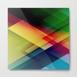 Mid Century Modern colorful green red yellow purple blue ombre geometric pattern Metal Print