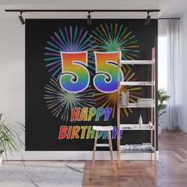 "55th Birthday ""55"" & ""HAPPY BIRTHDAY!"" w/ Rainbow Spectrum Colors + Fun Fireworks Inspired Pattern Wall Mural"