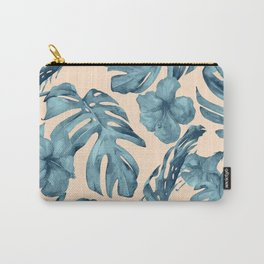 Island Vacay Hibiscus Palm Pale Coral Teal Blue Carry-All Pouch