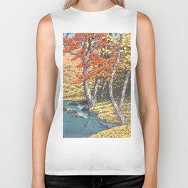 Japanese Woodblock -  Autumn in Oirase by Kawase Hasui, 1933 Biker Tank