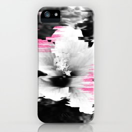 Floral glitch | modern black white flower photography pink watercolor brushstroke glitch effect iPhone Case