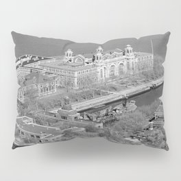 Ellis Island and NYC Harbor Photograph Pillow Sham