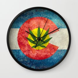 Retro Colorado State flag with leaf - Marijuana leaf that is! Wall Clock