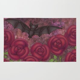 bats and roses Rug