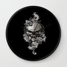 Skull and Rose Wall Clock