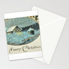 Snowy house in the woods vintage Stationery Cards