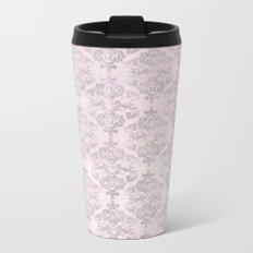 Rose Grey Pastel Damask Watercolor Pattern Metal Travel Mug