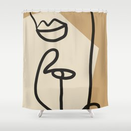Abstract Minimal Art / Face 2 Shower Curtain