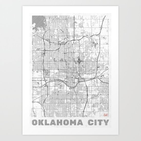 Oklahoma City Map Line Art Print