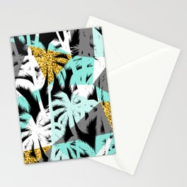 Abstract palm trees modern geometric pattern Stationery Cards