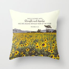 Proverbs and Sunflowers Throw Pillow