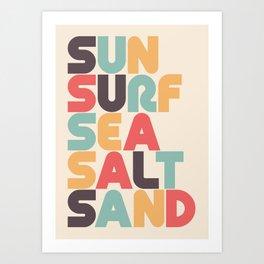 Retro Sun Surf Sea Salt Sand Typography Art Print