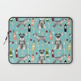 Schnauzer wine champagne cocktails rose dog breed pattern Laptop Sleeve