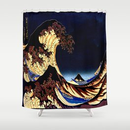 The GREAT Wave Midnight Blue Brown Shower Curtain