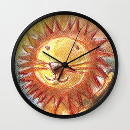 Lion For Children Pastel Chalk Drawing Wall Clock