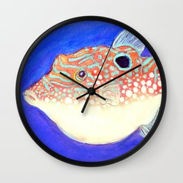 Blue Spotted Orange Toby Puffer Wall Clock