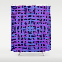 Square violet curved stripes with imitation of the bark of a light blue tree trunk. Shower Curtain