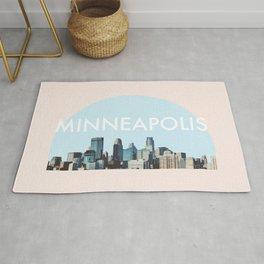 Minneapolis Minnesota Skyline Typography Simple Rug