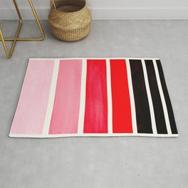 Red Minimalist Watercolor Mid Century Staggered Stripes Rothko Color Block Geometric Art Rug