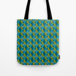 Mid Century Modern Flowers Optical Illusion Dark Teal Turquoise and Marigold Tote Bag
