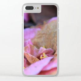 Details of a pink camelia Clear iPhone Case