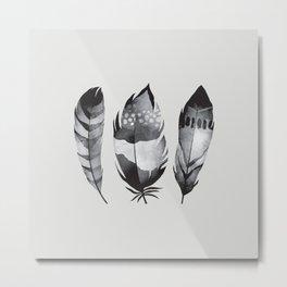 Monochrome bohemian feather set black-white boho watercolor animal illustration boho home wall decor Metal Print