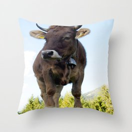 Cow on the pasture Throw Pillow