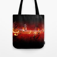 music notes Tote Bags featuring Hot Music Notes by FantasyArtDesigns