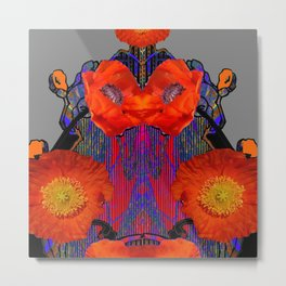 Modern Art Nouveau Fiery Orange Poppy Flowers Purple Art Metal Print