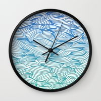 waves Wall Clocks featuring Ombré Waves by Cat Coquillette