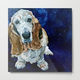 Basset Hound Nebula Stickers Dog Portrait Metal Print