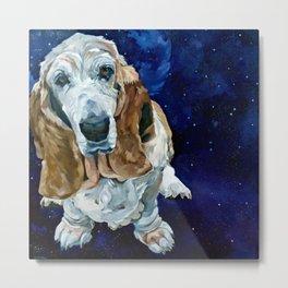 Basset Hound Nebula Stickers Dog Portrait Metal Print