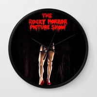 rocky horror picture show Wall Clocks featuring RHPS by Zombie Rust