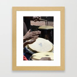 playing bongos Framed Art Print