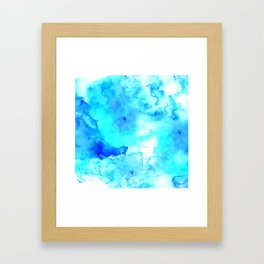 Modern blue sea hand painted watercolor Framed Art Print