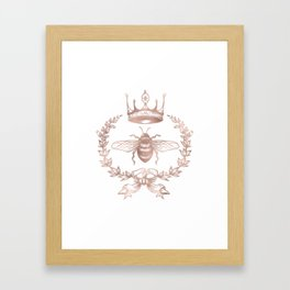 Queen Bee in Rose Gold Pink Framed Art Print